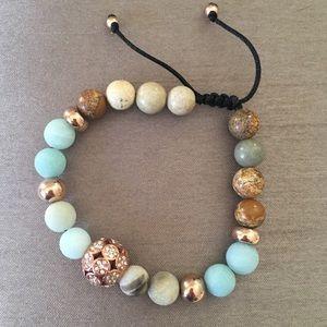 Rose Gold Semi Precious Stone Bead Bracelet NEW
